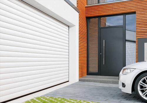 Porte garage enroulante blanche