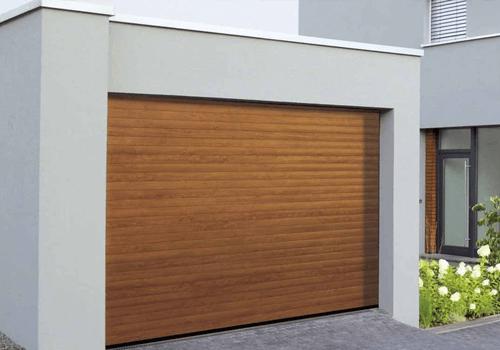 Porte garage enroulante brune